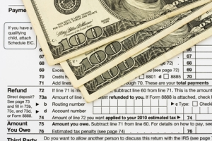 One hundred dollar bills sitting on tax papers, Calculating your tax refund
